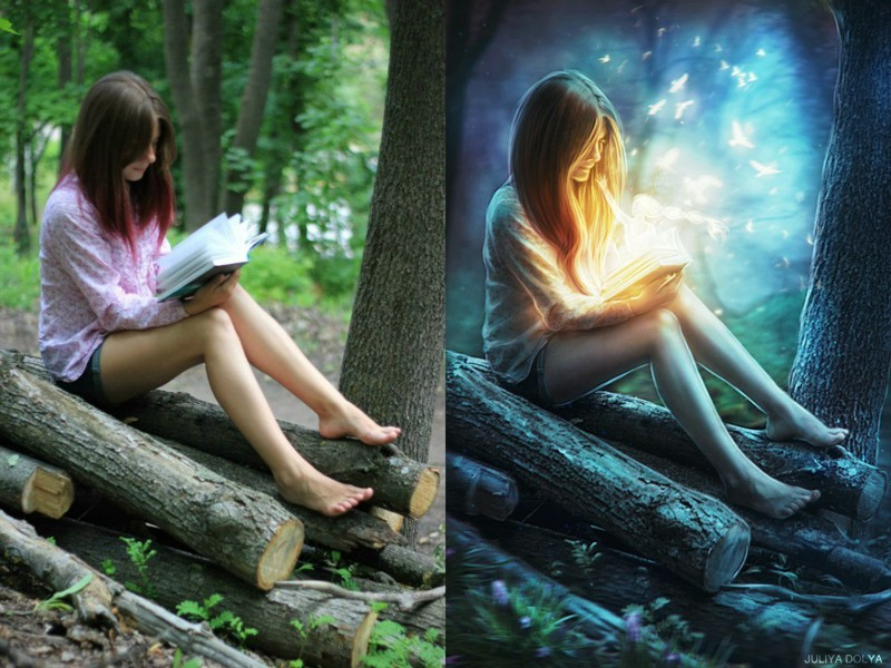 Nuotraukos prieš ir po apdorojimo Photoshop'u