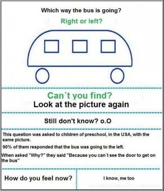 Į kurią pusę važiuoja autobusas?